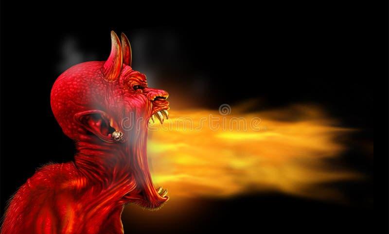 Flammes de Satan sur le noir illustration stock