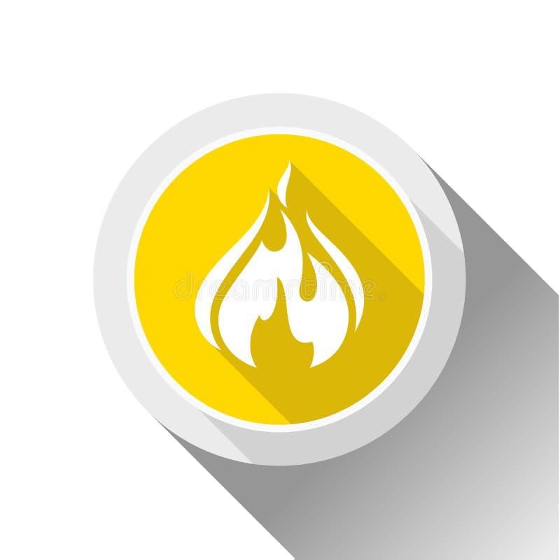 Flammes du feu, bouton illustration de vecteur