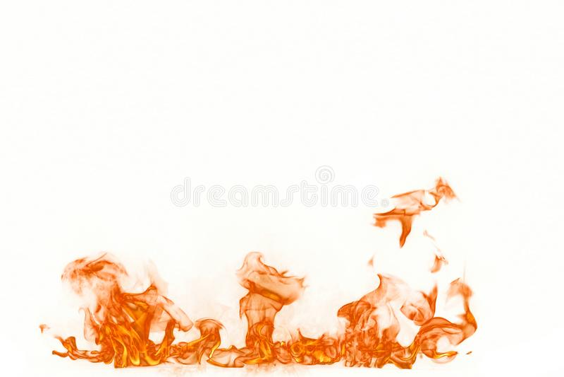 Flammes du feu d'isolement sur le fond blanc images libres de droits