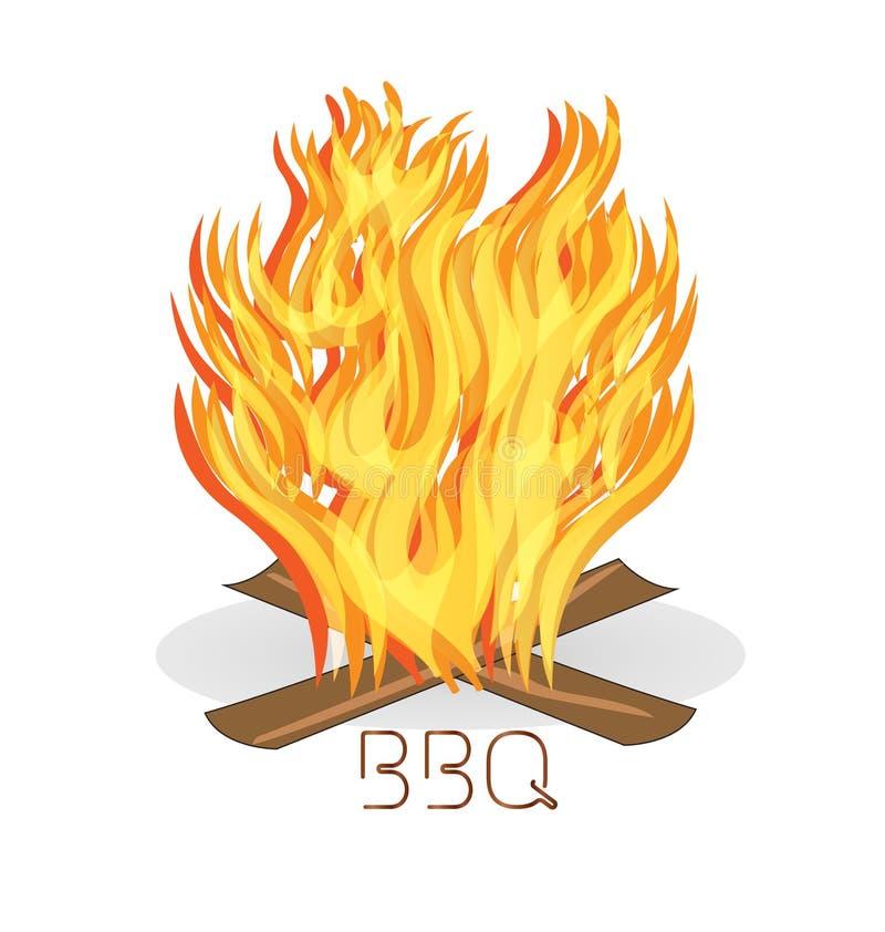 Flammes du feu de barbecue illustration stock
