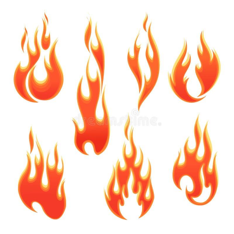 Flammes du feu de différentes formes illustration de vecteur