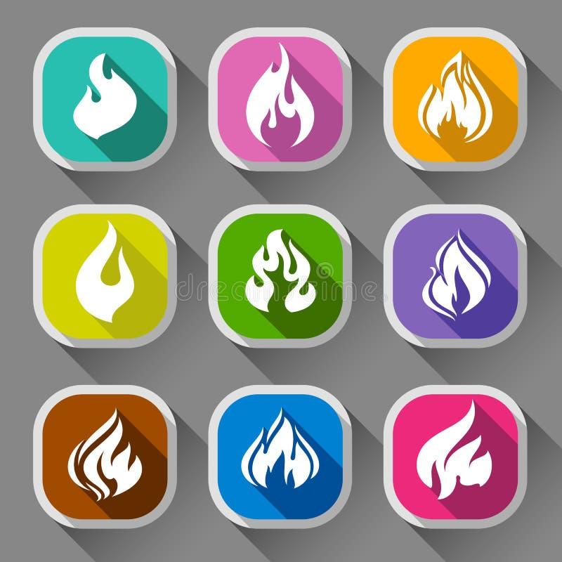 Flammes du feu, neuf icônes illustration de vecteur