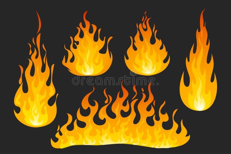 Flammes du feu sur le fond fonc? illustration libre de droits