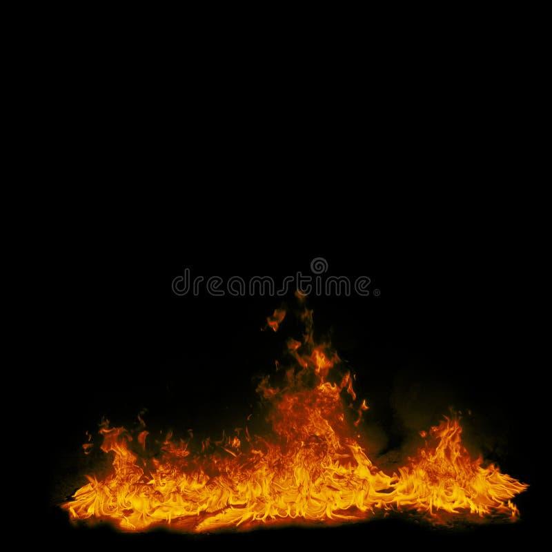 Flammes du feu sur le fond noir Illustration carrée abstraite illustration stock