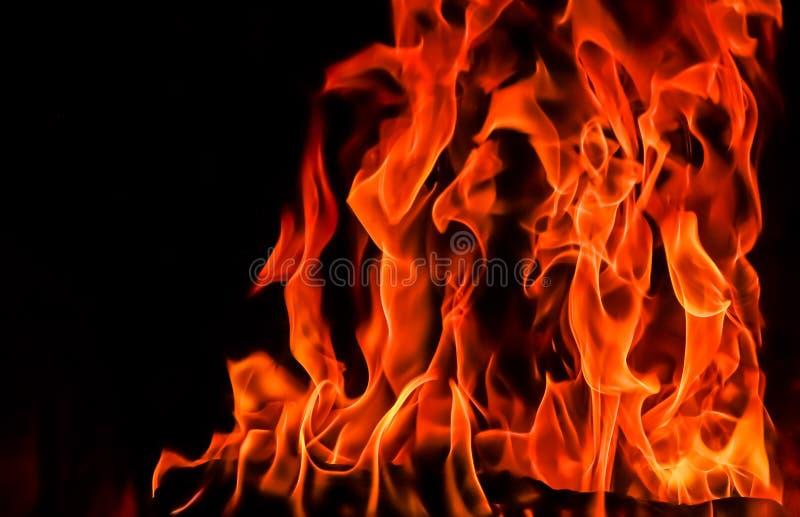 Flammes du feu sur un fond noir Le mystère du feu image libre de droits