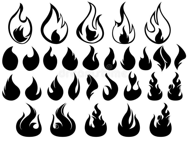Flammes illustrées sur le blanc illustration libre de droits