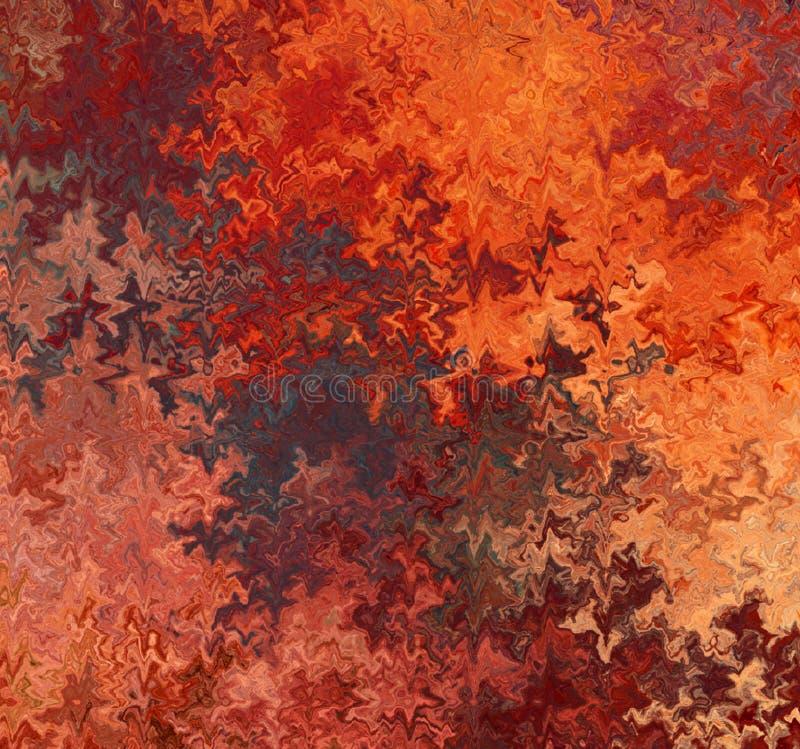 Flammes onduleuses chaotiques multicolores de Digital PaintingAbstract dans différentes nuances de fond rustique de couleurs illustration de vecteur