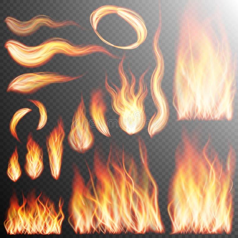 Flammes réalistes du feu réglées ENV 10 illustration libre de droits