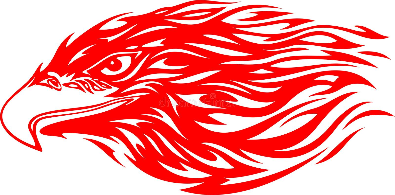 flammhuvud för 4 örn vektor illustrationer
