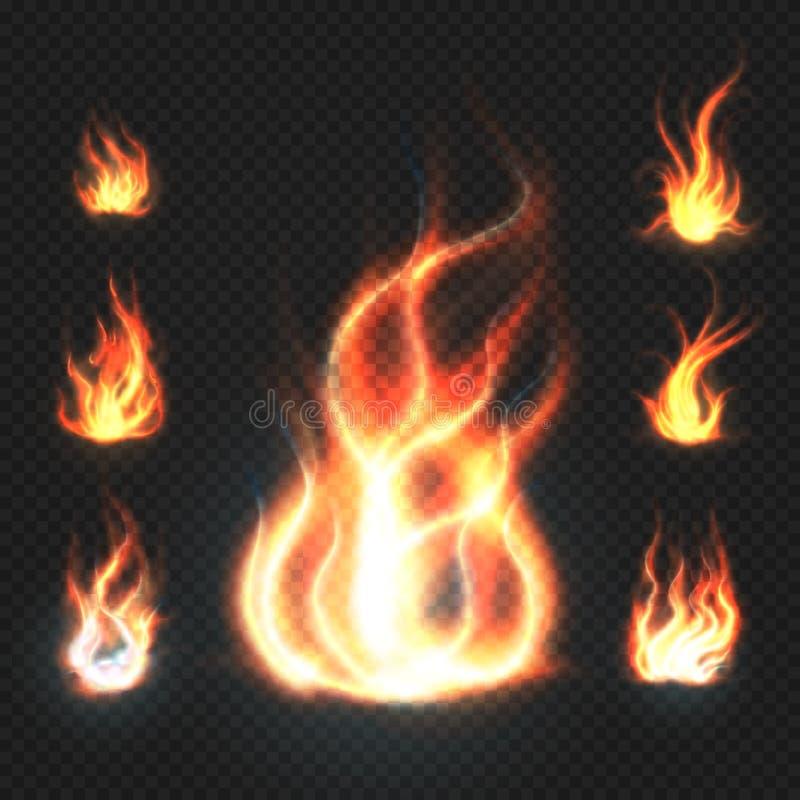 Flammor för realistisk apelsin och för röd brand, eldkulor på genomskinlig bakgrundsvektorillustration stock illustrationer