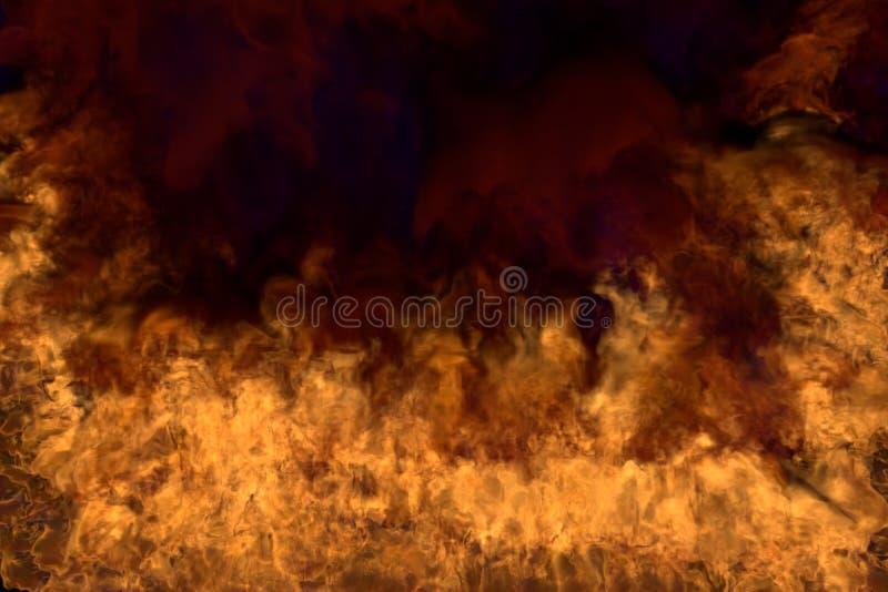 Flammor från både hörnen och botten - illustration för brand 3D av den smältande spisen, halv ram med läskig mörk rök som isolera royaltyfri illustrationer