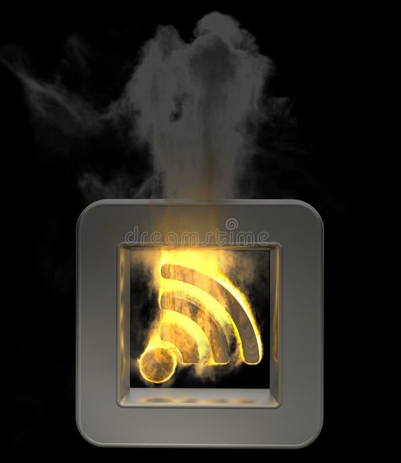flammrss för knapp 3d stock illustrationer
