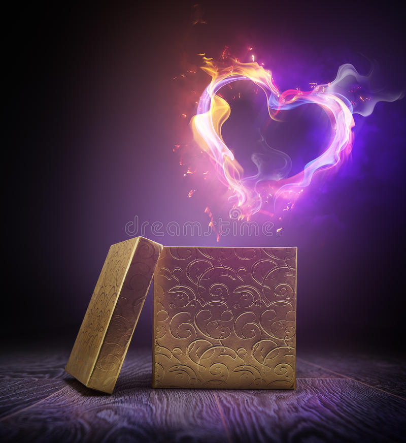 Flamy hjärta arkivfoton