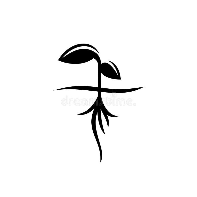Flanca z korzeń czarną sylwetką ilustracja wektor