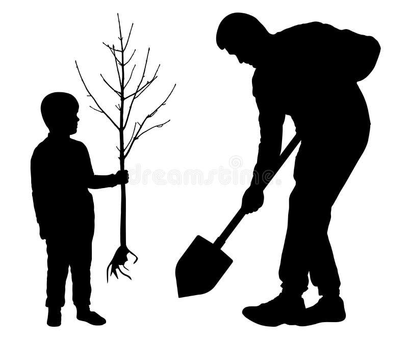 Flancowania drzewo z dzieckiem Mężczyzna trzyma rydel i dziecko trzyma drzewnej rozsady Sylwetka wektor na bia?ym tle royalty ilustracja