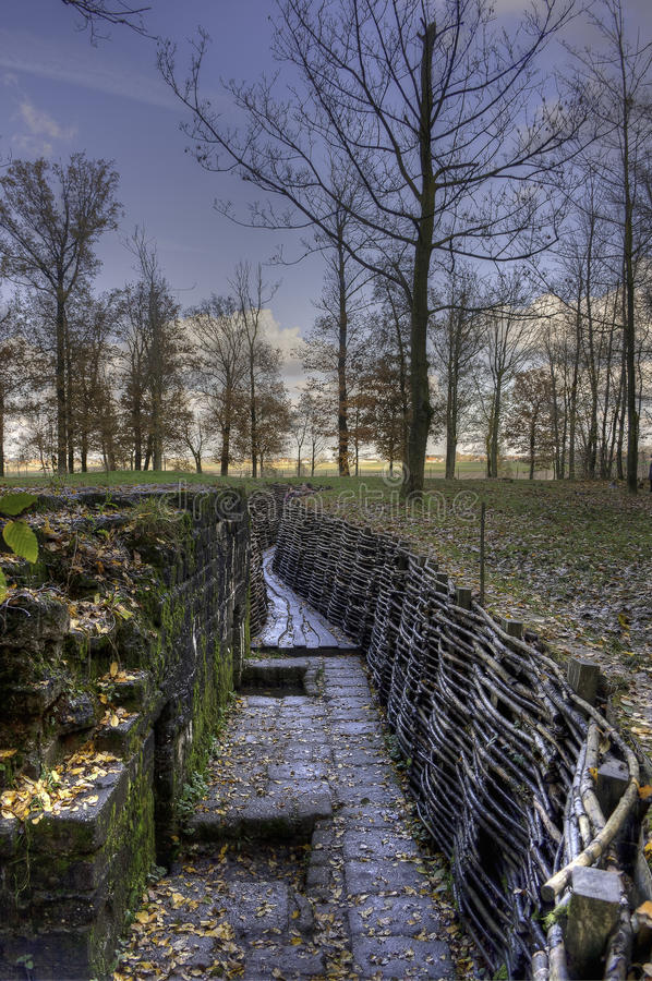 Flanders Fields, WWI Trenches, Belgim. German Trenches in Bayern Wald, in Flanders Fields, Belgium. The scenery of the First World War at the Ypres Salient stock photography