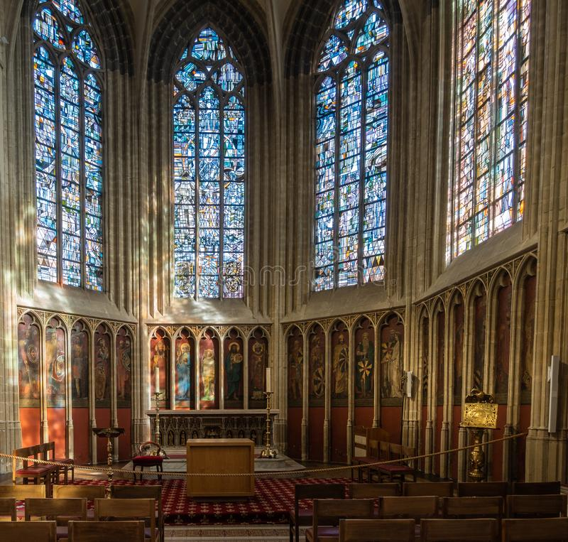 Flanders National Chapel at Notre Dame Church, Kortrijk Belgium. Kortrijk, Flanders, Belgium - September 17, 2018: Chancel of historic chapel in Notre Dame royalty free stock photography