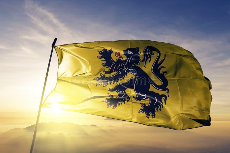 Flandryjski Vlaanderen region Belgia flaga tkaniny tekstylny sukienny falowanie na odgórnej wschód słońca mgły mgle royalty ilustracja