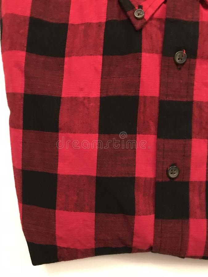 FLANELLE - ROUGE - NOIR - flanelle est un textile tissé mou, de diverse finesse - ROUGE et NOIR photographie stock libre de droits