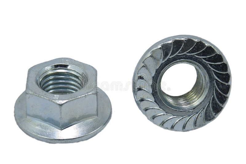 Flange nuts with teeth stock images