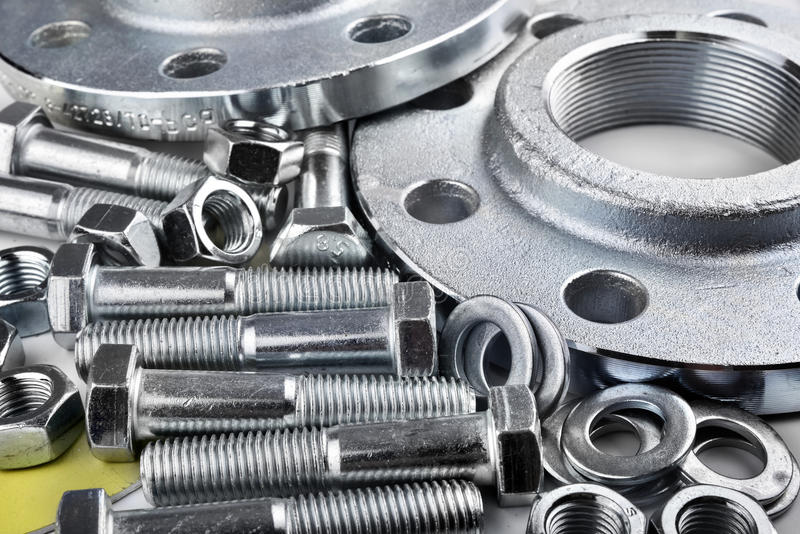 Flange screws and nuts royalty free stock photo