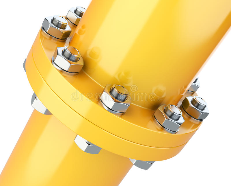 Flanges pipe with nuts and bolts. Pipeline for gas industry. royalty free illustration