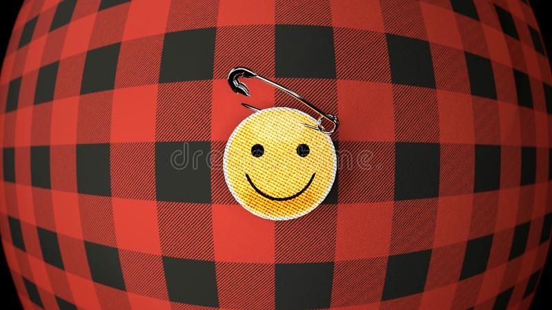 Smiley, cloth badge on the flannel shirt, close up. Smiley on the flannel shirt- two iconic objects, red and black flannel shirt, twisted and bent, and a yellow vector illustration