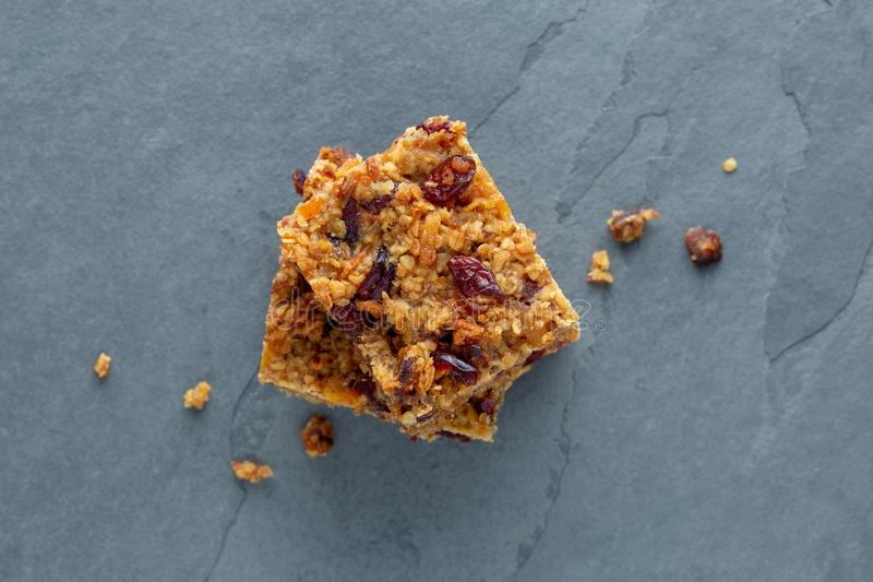 Flapjack vegan with cranberry, apricot and date stock image