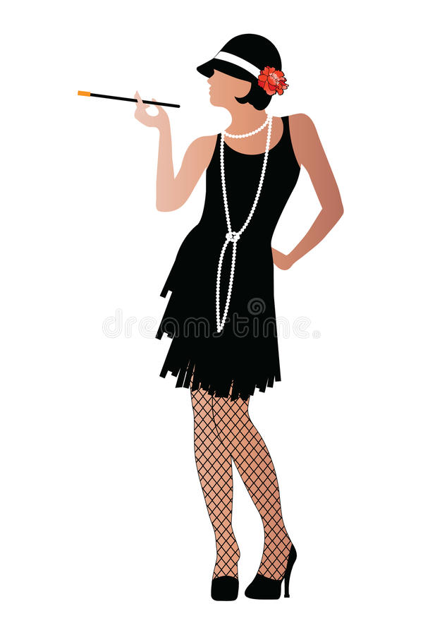 Flapper with cigaratte and fishnet stockings royalty free stock photography