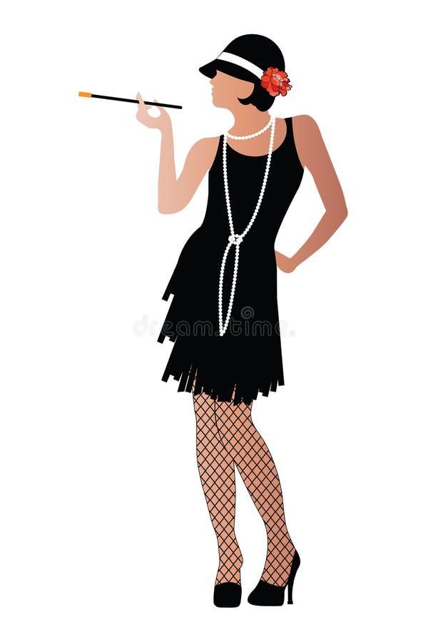 Flapper com as meias do cigaratte e do fishnet   ilustração stock