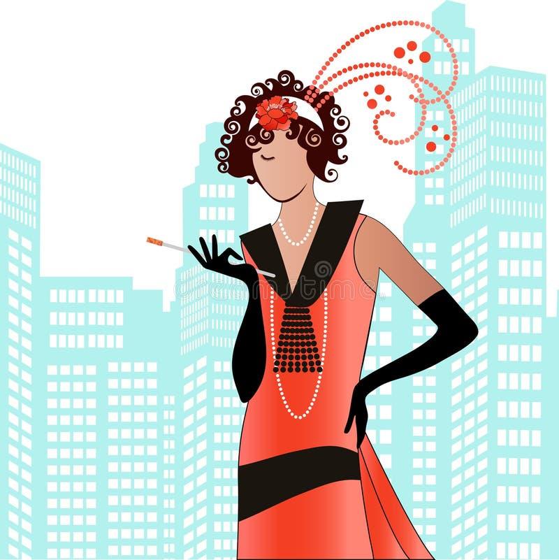Flapper dos anos 20 ilustração royalty free