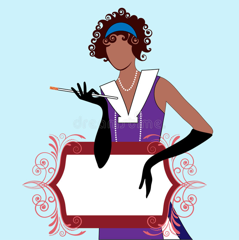 Flapper Girl with Banner royalty free illustration