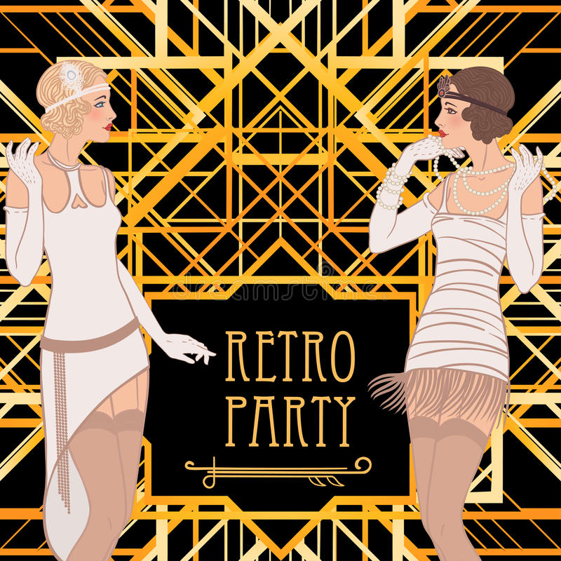 Flapper Girl: Retro Party Invitation Design. Stock Illustration ...