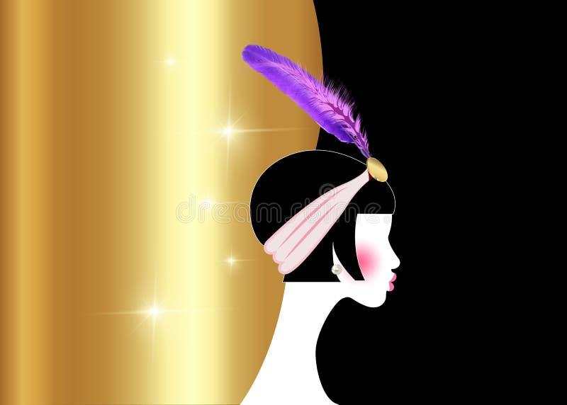 Flapper girl, retro woman of twenties. Retro party invitation design with a beautiful portrait 1920s style, fashion silhouette vector illustration