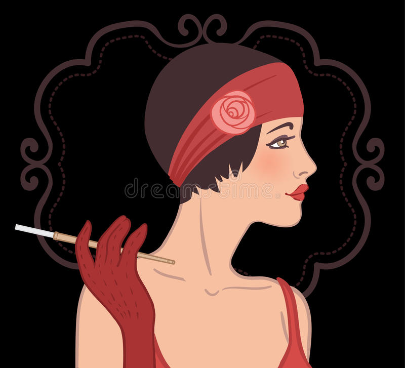 Flapper girls set: retro party invitation design in 20's style stock illustration