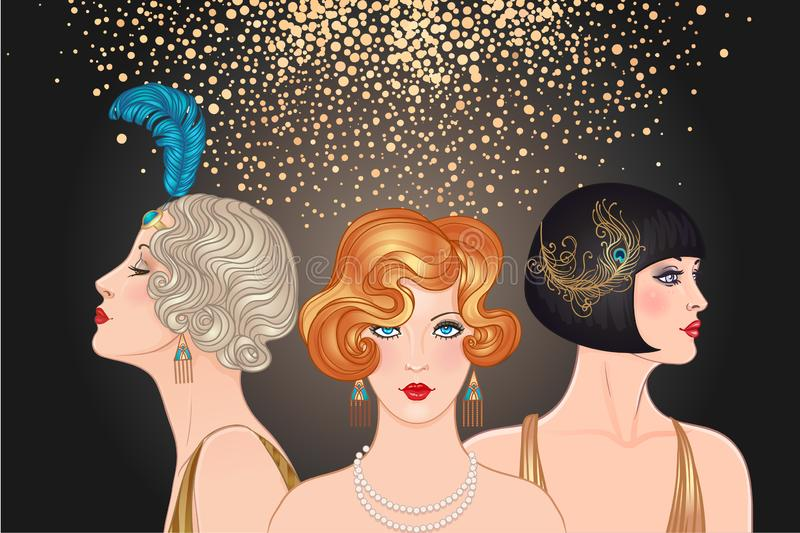 Flapper girls set: three young beautiful women of 1920s. Vector royalty free illustration