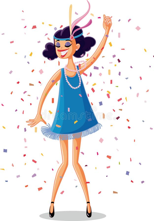 Free Flapper Party Girl From The Roaring 20s Retro Vector Stock Image - 103842321