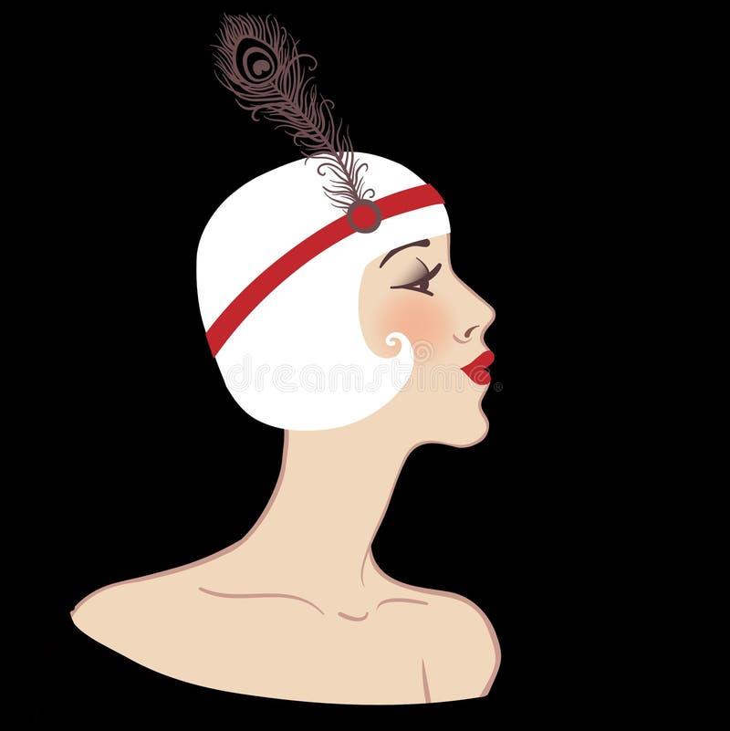 Flapper retro blond girl vector illustration