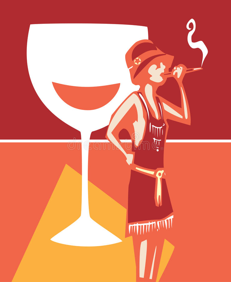 Flapper Speakeasy Wine vector illustration