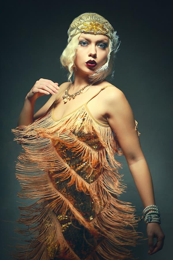 Flapper woman dancing. Beautiful flapper woman dancing roaring 1920s stock images