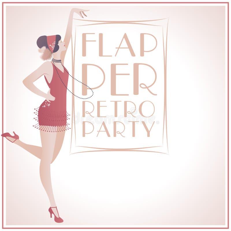 FlapperGirl RetroParty stock de ilustración