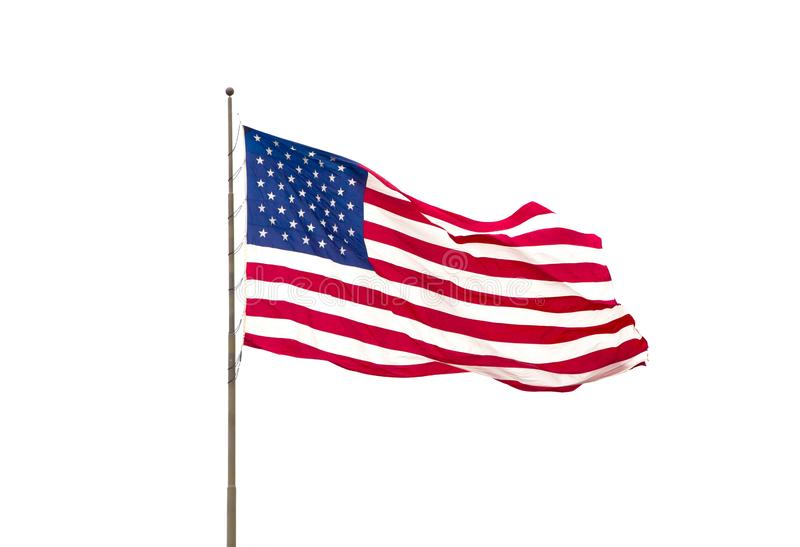 Flapping American Flag. American Flag Isolated on a White Background royalty free stock images