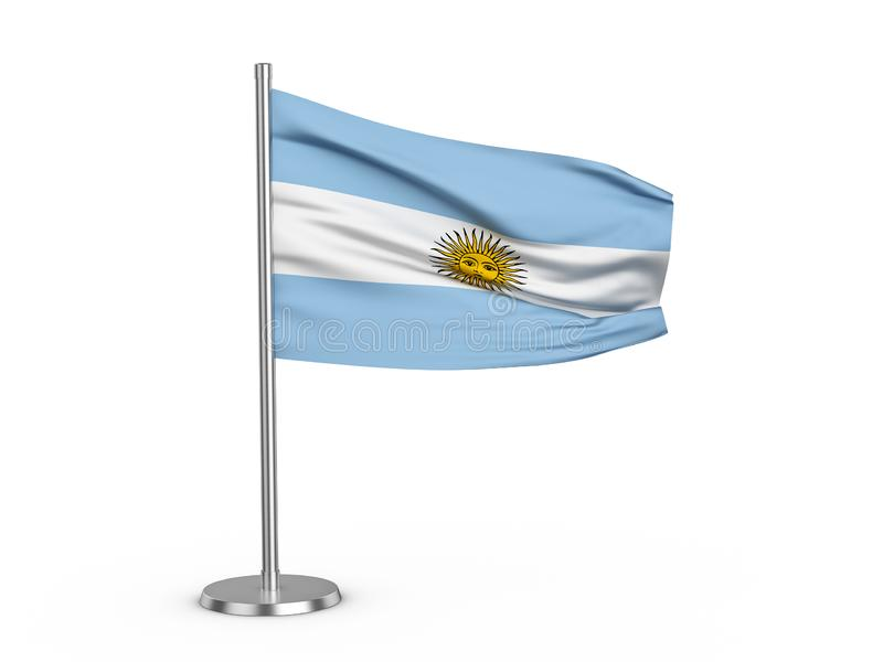 Flapping flag Argentina. On a white background. 3d illustration stock illustration