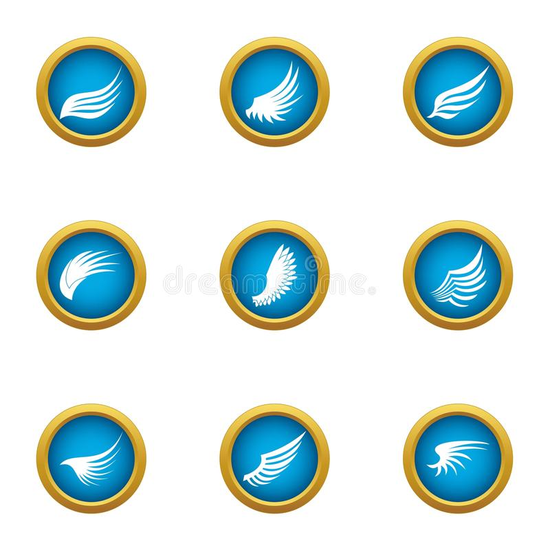 Flapping wing icons set, flat style stock illustration