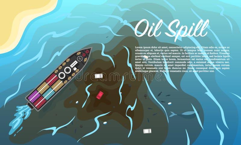 Flaque d'huile pollution environnementale écologique de photo de crise L'eau sale d'océan de problèmes écologiques Bateau, bateau illustration libre de droits