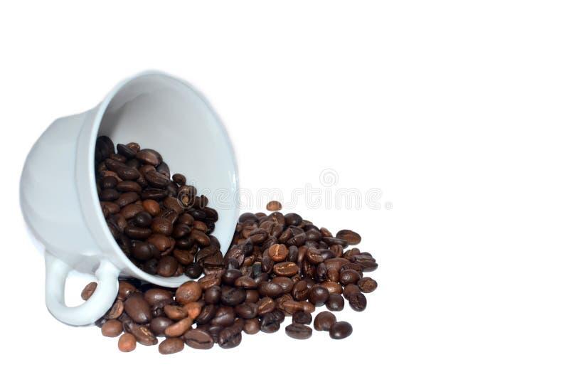 Flaque rôtie de café hors de la tasse blanche images libres de droits