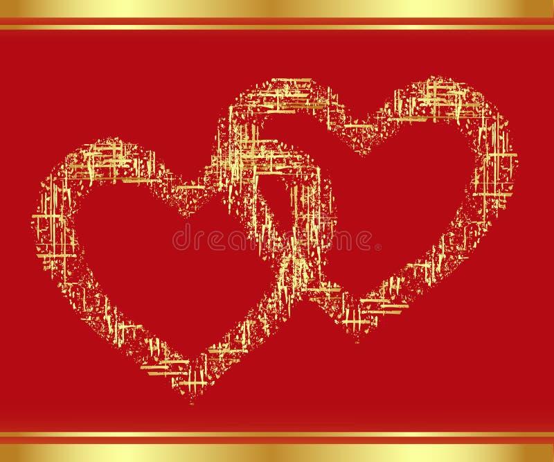 Flard-hart in goud. stock illustratie