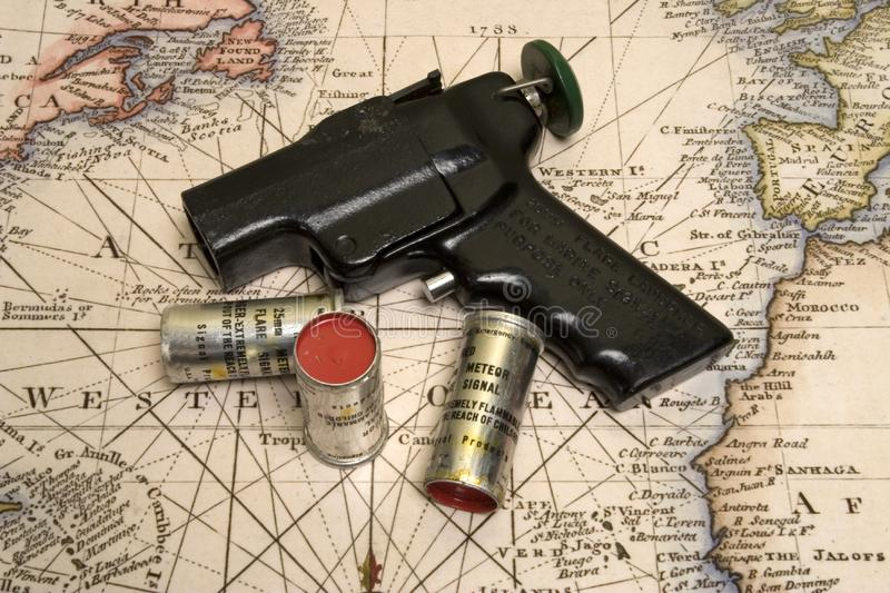Flare Gun on the map royalty free stock photos