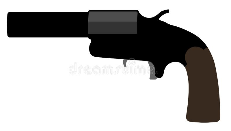 Flare-gun. Rocket launch. Vector silhouette weapon gun.  vector illustration