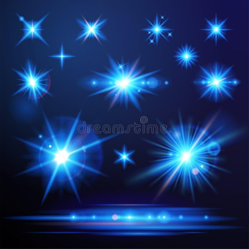 Flare lights set. Blue flare lights set for your designs vector illustration